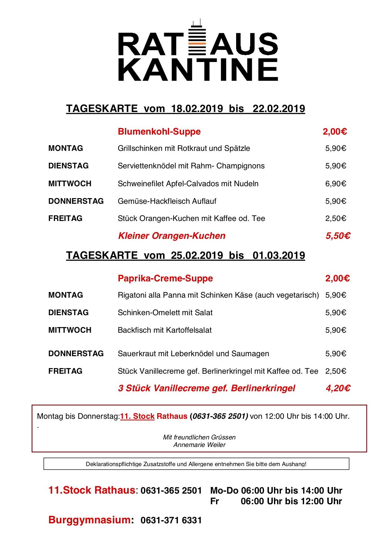 Speiseplan Der Cafeteria Burggymnasium Kaiserslautern